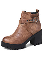 cheap -Women's Shoes Leatherette Winter Fall Fashion Boots Bootie Boots Chunky Heel Round Toe Booties/Ankle Boots Buckle for Office & Career