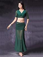 abordables -Danza del Vientre Accesorios Mujer Actuación Modal Tul Plisados Combinación La mitad de manga Cintura Baja Faldas Tops