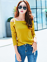 cheap -Women's Daily Casual T-shirt,Solid Round Neck Long Sleeve Cotton