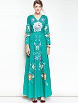 Mary Yan & Yu Women's Party Casual/Daily Vintage Boho Swing Dress,Floral V Neck Maxi Long Sleeve Cotton Polyester Spring Summer Mid Rise Inelastic