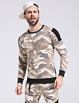 cheap -Men's Daily Sweatshirt Camouflage Round Neck Micro-elastic Polyester Long Sleeve Winter Autumn/Fall