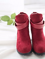 cheap -Women's Shoes PU Spring Fall Comfort Fashion Boots Boots Block Heel Booties/Ankle Boots for Casual Almond Red Black
