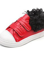cheap -Girls' Shoes Leatherette Winter Fall Comfort Sneakers Walking Shoes Magic Tape for Casual Black Red
