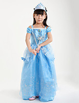 cheap -Princess Cinderella Fairytale One Piece Dress Party Costume Kid Christmas Masquerade Festival / Holiday Halloween Costumes Blue Red Solid