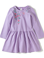 cheap -Girl's Daily Holiday Embroidery Dress,Cotton All Seasons Long Sleeves Cute Casual Purple