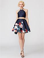 economico -Linea-A All'americana Corto / mini Raso Cocktail Vestito con Perline Dettagli con cristalli A fantasia / stampa di TS Couture®