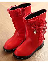 preiswerte -Mädchen Schuhe Künstliche Mikrofaser Polyurethan Winter Herbst Komfort Modische Stiefel Stiefel Walking Mittelhohe Stiefel Schleife Für