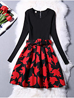 cheap -Girl's Daily Going out Solid Floral Print Dress,Cotton Polyester Winter Fall Long Sleeves Vintage Cute Princess Red