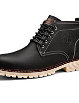 cheap -Men's Shoes Cowhide Winter Fall Comfort Combat Boots Boots Mid-Calf Boots for Casual Black Dark Blue Coffee