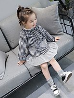 Girl's Holiday Casual/Daily Checks Dress,Cotton Polyester Spring Fall Long Sleeves Cute Black Red