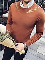 preiswerte -Herren Standard Pullover-Lässig/Alltäglich Druck Rundhalsausschnitt Langärmelige Polyester Winter Herbst Dick Mikro-elastisch
