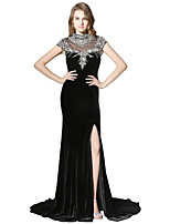Mermaid / Trumpet High Neck Court Train Velvet Prom Formal Evening Dress with Beading Sequins by Sarahbridal
