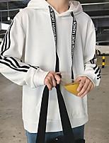 Недорогие -Для мужчин На каждый день Простой Для миниатюрных Толстовка Полоски Капюшон Без подкладки Слабоэластичная Хлопок Полиэстер Длинные рукава