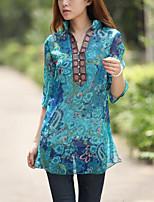 Недорогие -Для женщин Праздники На каждый день Блуза Воротник-стойка,Винтаж Уличный стиль Цветочный принт Полиэстер