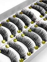 Недорогие -10 Ресницы Ресницы Ленточные накладные ресницы Ресницы Толстые Натуральная длина Натуральный Ручная работа Волокно Black Band 0.07mm