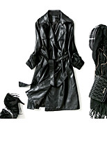 cheap -Women's Daily Street chic Winter Fall Fur Coat,Solid Shirt Collar Long Sleeve Long Lambskin Oversized