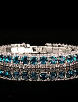 abordables -Mujer Cadenas y esclavas Zirconia Cúbica Cristal Zafiro Sintético Vintage Elegant Cristal Austriaco Forma de Círculo Joyas Boda Fiesta de
