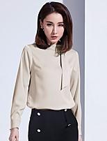 Недорогие -Для женщин Повседневные Блуза Вырез под горло,Винтаж Однотонный Длинные рукава,Хлопок