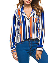 cheap -Women's Holiday Going out Casual Sexy Street chic Spring Fall ShirtStriped Color Block Shirt Collar Long Sleeve Polyester Medium