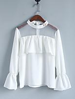 abordables -Mujer Casual Diario Invierno Otoño Camiseta,Escote Redondo Bloques Mangas largas Poliéster Opaco