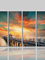 cheap -Canvas Print Classic Rustic Modern,Four Panels Canvas Vertical Print Wall Decor Home Decoration