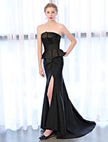 economico -A sirena Senza bretelline Strascico di corte Raso chiffon Serata formale Vestito con Spacco sul davanti di Embroidered Bridal