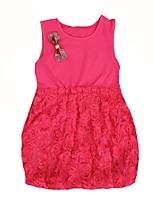 cheap -Girl's Birthday Daily Solid Jacquard Dress,Cotton Summer Sleeveless Cute Fuchsia Red