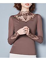 preiswerte -Damen Solide Freizeit Alltag T-shirt,Rundhalsausschnitt Herbst Langärmelige Baumwolle Undurchsichtig