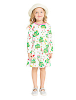 cheap -Girl's Daily Holiday Print Dress,Cotton All Seasons Long Sleeves Cute Casual Green