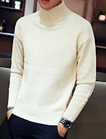 cheap -Men's Casual/Daily Simple Regular Pullover,Solid Turtleneck Long Sleeve Polyester Winter Fall Thick Micro-elastic