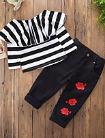 cheap -Girls' Daily Holiday Solid Striped Floral Clothing Set,Cotton Polyester Fall All Seasons Long Sleeve Casual Active Punk & Gothic Black