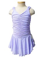 cheap -Figure Skating Dress Women's Girls' Ice Skating Dress Violet Spandex Inelastic Performance Practise Skating Wear Solid Sleeveless Ice