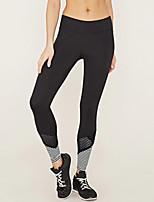 cheap -Women's Sporty Polyester Medium Stitching Legging,Patchwork Black