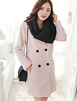 cheap -Women's Daily Casual Winter Trench Coat,Solid Square Neck Long Sleeve Long Cotton Acrylic