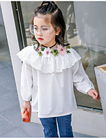 cheap -Girls' Solid Floral Embroidered Shirt,Cotton Spring Fall ¾ Sleeve Simple Cute White