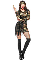 abordables -Soldier Una Sola Pieza Vestidos Disfrace de Cosplay Guantes Sombreros Mujer Halloween Carnaval Año Nuevo Festival / Celebración Disfraces