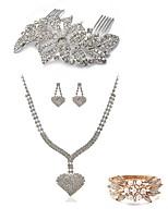 abordables -Mujer Peinetas Los sistemas nupciales de la joyería Cristal Europeo Moda Boda Fiesta Perla Diamante Sintético Legierung Corazón Joyería
