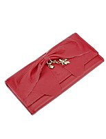 Women Bags Cowhide Wallet / Bow(s) for Shopping Casual All Season Drak Red