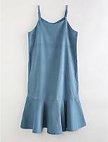 cheap -Girl's Striped Dress,Cotton Long Sleeves Cute Casual Street chic Blue