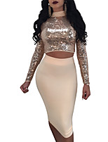 Women's Casual/Daily Club Vintage Sexy Spring Fall T-Shirt Skirt Suits,Patchwork Crew Neck Long Sleeve Backless Sequins Sexy Polyester