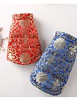 Chat Chien Manteaux Vêtements pour Chien Décontracté / Quotidien Ethnique Floral/Botanique Rouge Bleu Costume Pour les animaux domestiques