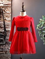 Girl's Christmas Going out Solid Dress,Cotton Polyester Winter Fall Long Sleeves Active Red Blushing Pink Purple