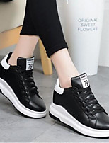 cheap -Women's Shoes PU Spring Comfort Sneakers Walking Shoes Flat Closed Toe for Casual Pink Black White