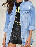 Недорогие -Для женщин На выход На каждый день Зима Осень Джинсовая куртка V-образный вырез,Простой Однотонный Длинная Длинные рукава,Хлопок Акрил,