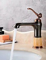 cheap -Contemporary Art Deco / Retro Centerset Waterfall Ceramic Valve Single Handle One Hole Rose Gold , Bathroom Sink Faucet