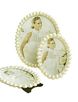 cheap -European Simple Pearl Alloy Picture Frame Elegant Desktop Oval Photo Frames Wedding Gift Decor XL042