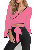 cheap -Women's Party/Cocktail Going out Sexy Spring Summer Blouse,Solid V Neck Long Sleeve Polyester Opaque