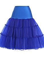 cheap -Classic Lolita Dress Princess Lolita Women's Skirt Petticoat Cosplay Ink Blue Fuschia Orange Blue Knee Length