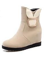 Недорогие -Для женщин Обувь Нубук Весна Осень Зимние сапоги Модная обувь Оригинальная обувь Ботинки Туфли на танкетке Заостренный носок Ботинки