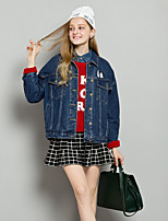 cheap -Women's Holiday Vintage Fall Denim Jacket,Print Shirt Collar Long Sleeve Regular Polyester Oversized